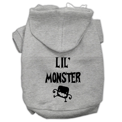 Mirage Pet Products Lil Monster Screen Print Pet Hoodies Grey Size XXL (18)