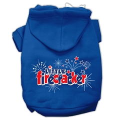 Mirage Pet Products Little Firecracker Screen Print Pet Hoodies Blue Size Med (12)