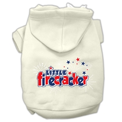 Mirage Pet Products Little Firecracker Screen Print Pet Hoodies Cream Size M (12)