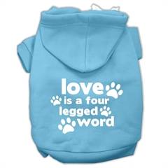 Mirage Pet Products Love is a Four Leg Word Screen Print Pet Hoodies Baby Blue Size Med (12)
