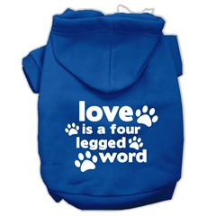 Mirage Pet Products Love is a Four Leg Word Screen Print Pet Hoodies Blue Size XXXL (20)