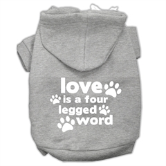 Mirage Pet Products Love is a Four Leg Word Screen Print Pet Hoodies Grey Size XL (16)