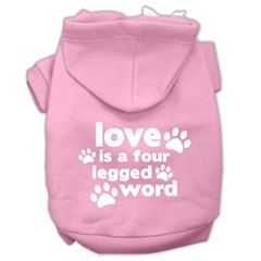 Mirage Pet Products Love is a Four Leg Word Screen Print Pet Hoodies Light Pink Size XXL (18)