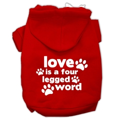 Mirage Pet Products Love is a Four Leg Word Screen Print Pet Hoodies Red Size Lg (14)