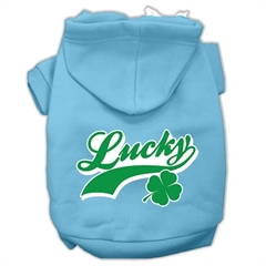 Mirage Pet Products Lucky Swoosh Screen Print Pet Hoodies Baby Blue Size Sm (10)