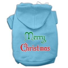 Mirage Pet Products Merry Christmas Screen Print Pet Hoodies Baby Blue Size Lg (14)