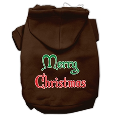 Mirage Pet Products Merry Christmas Screen Print Pet Hoodies Brown Size Lg (14)