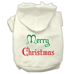 Mirage Pet Products Merry Christmas Screen Print Pet Hoodies Cream Size XS (8)