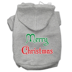 Mirage Pet Products Merry Christmas Screen Print Pet Hoodies Grey Size Med (12)