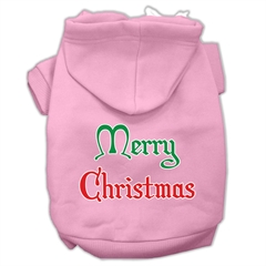 Mirage Pet Products Merry Christmas Screen Print Pet Hoodies Light Pink Size Lg (14)