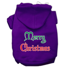 Mirage Pet Products Merry Christmas Screen Print Pet Hoodies Purple Size Lg (14)