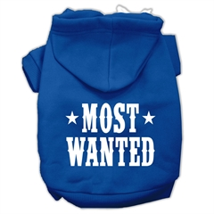 Mirage Pet Products Most Wanted Screen Print Pet Hoodies Blue Size Med (12)