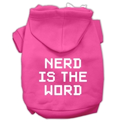 Mirage Pet Products Nerd is the Word Screen Print Pet Hoodies Bright Pink Size S (10)