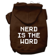 Mirage Pet Products Nerd is the Word Screen Print Pet Hoodies Brown Size M (12)