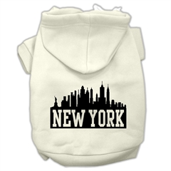 Mirage Pet Products New York Skyline Screen Print Pet Hoodies Cream Size XL (16)