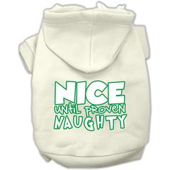 Mirage Pet Products Nice until proven Naughty Screen Print Pet Hoodie Cream XS (8)
