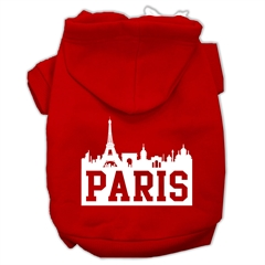 Mirage Pet Products Paris Skyline Screen Print Pet Hoodies Red Size Sm (10)