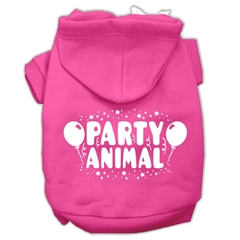 Mirage Pet Products Party Animal Screen Print Pet Hoodies Bright Pink Size Med (12)