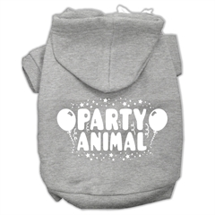 Mirage Pet Products Party Animal Screen Print Pet Hoodies Grey Size Sm (10)