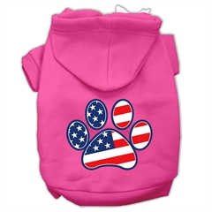 Mirage Pet Products Patriotic Paw Screen Print Pet Hoodies Bright Pink Size M (12)