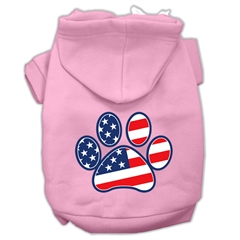 Mirage Pet Products Patriotic Paw Screen Print Pet Hoodies Light Pink Size S (10)