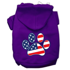 Mirage Pet Products Patriotic Paw Screen Print Pet Hoodies Purple XL (16)