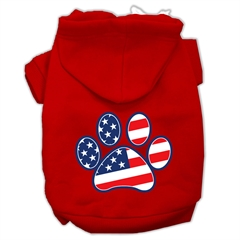 Mirage Pet Products Patriotic Paw Screen Print Pet Hoodies Red Size XL (16)