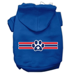 Mirage Pet Products Patriotic Star Paw Screen Print Pet Hoodies Blue Size Med (12)