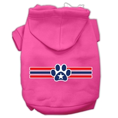 Mirage Pet Products Patriotic Star Paw Screen Print Pet Hoodies Bright Pink Size M (12)