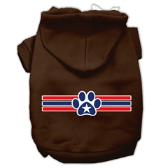 Mirage Pet Products Patriotic Star Paw Screen Print Pet Hoodies Brown Size XS (8)