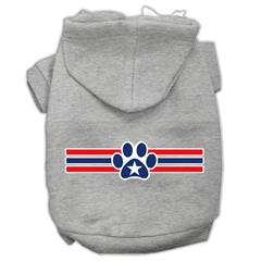 Mirage Pet Products Patriotic Star Paw Screen Print Pet Hoodies Grey XS (8)