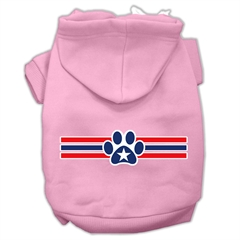 Mirage Pet Products Patriotic Star Paw Screen Print Pet Hoodies Light Pink Size S (10)