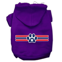 Mirage Pet Products Patriotic Star Paw Screen Print Pet Hoodies Purple Size XXXL(20)