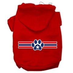 Mirage Pet Products Patriotic Star Paw Screen Print Pet Hoodies Red Size S (10)