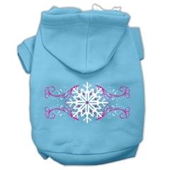 Mirage Pet Products Pink Snowflake Swirls Screenprint Pet Hoodies Baby Blue Size XS (8)