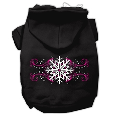 Mirage Pet Products Pink Snowflake Swirls Screenprint Pet Hoodies Black Size XXL (18)