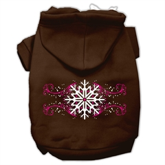 Mirage Pet Products Pink Snowflake Swirls Screenprint Pet Hoodies Brown Size S (10)