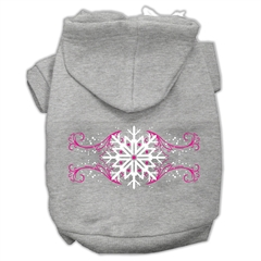 Mirage Pet Products Pink Snowflake Swirls Screenprint Pet Hoodies Grey Size XS (8)
