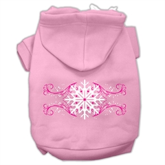 Mirage Pet Products Pink Snowflake Swirls Screenprint Pet Hoodies Light Pink Size XL (16)