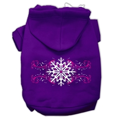 Mirage Pet Products Pink Snowflake Swirls Screenprint Pet Hoodies Purple Size M (12)