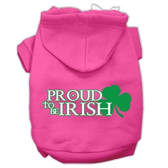 Mirage Pet Products Proud to be Irish Screen Print Pet Hoodies Bright Pink Size Lg (14)