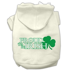 Mirage Pet Products Proud to be Irish Screen Print Pet Hoodies Cream Size XL (16)