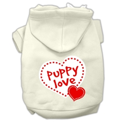 Mirage Pet Products Puppy Love Screen Print Pet Hoodies Cream Size XL (16)