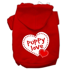 Mirage Pet Products Puppy Love Screen Print Pet Hoodies Red Size Sm (10)