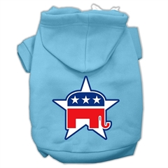Mirage Pet Products Republican Screen Print Pet Hoodies Baby Blue Size Med (12)
