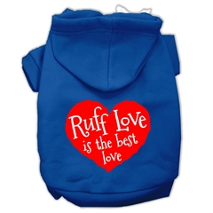 Mirage Pet Products Ruff Love Screen Print Pet Hoodies Blue Size Med (12)