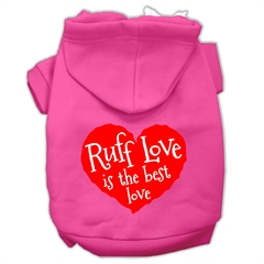 Mirage Pet Products Ruff Love Screen Print Pet Hoodies Bright Pink Size XXL (18)