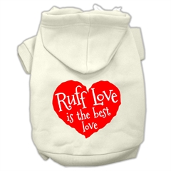 Mirage Pet Products Ruff Love Screen Print Pet Hoodies Cream Size XXL (18)