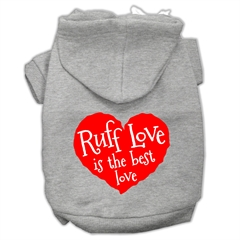 Mirage Pet Products Ruff Love Screen Print Pet Hoodies Grey Size XXL (18)