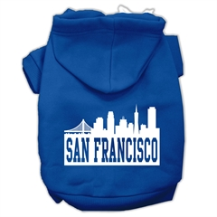 Mirage Pet Products San Francisco Skyline Screen Print Pet Hoodies Blue Size Lg (14)